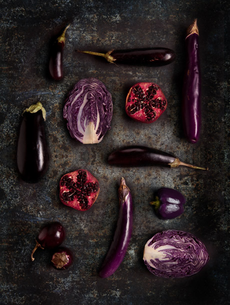 Aubergine Cabbage Pepper Photography
